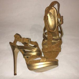 Aldo Brown & Gold Suede Heels